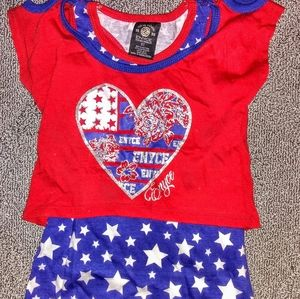 3T Girls Enyce Red White & Blue Shorts Set